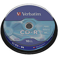 Диски CD-R 10 шт. Verbatim, 700Mb, 52x, Extra Protection, Cake Box (43437)