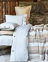 Комплект постільної білизни з пледом Karaca Home Woodley mavi