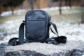 Барсетка стильная | Мессенджер Nike чёрное лого вышивка