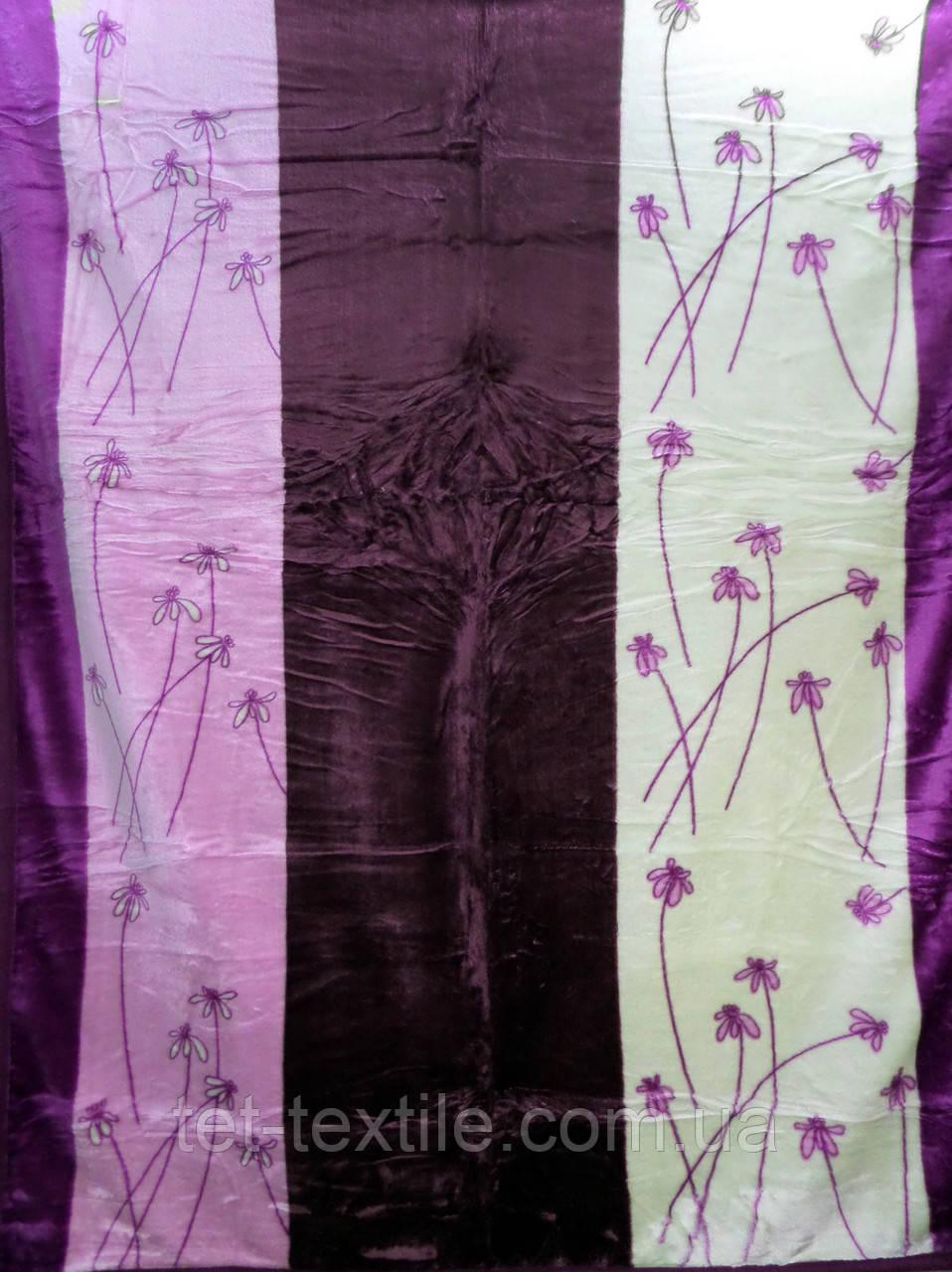 Плед акриловый облегченный True Love Цветочные фиолетовые полосы (180x230)