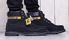 Мужские ботинки Caterpillar на меху черные топ реплика, фото 2
