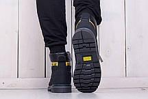 Мужские ботинки Caterpillar на меху черные топ реплика, фото 3