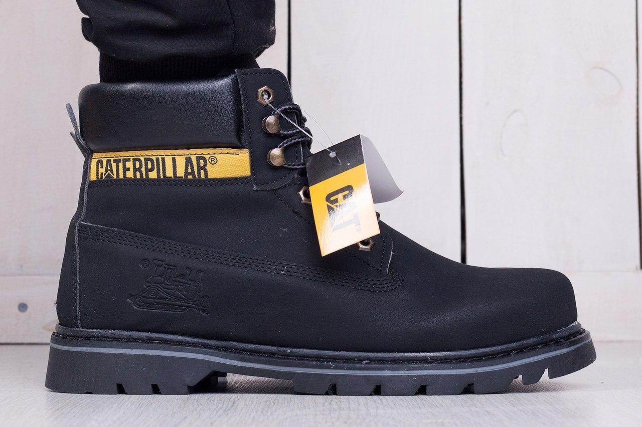 Мужские ботинки Caterpillar на меху черные топ реплика