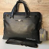 Мужской кожаный портфель Armani сумка Армани