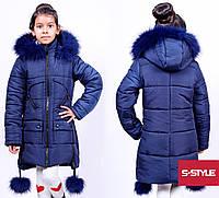 Стильный зимняя курточка для девочки с бубонами
