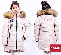 Стильный зимняя курточка для девочки с нашивками
