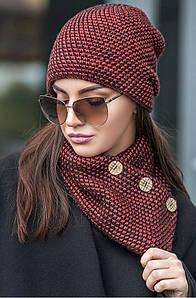 Зимняя женская вязаная шапка с хомутом на флисе бордо, женские вязаные шапки оптом от производителя