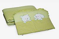 """Бампер для детской кроватки Twins Evolution A-005 """"Котик и собачка"""" (зеленый)"""