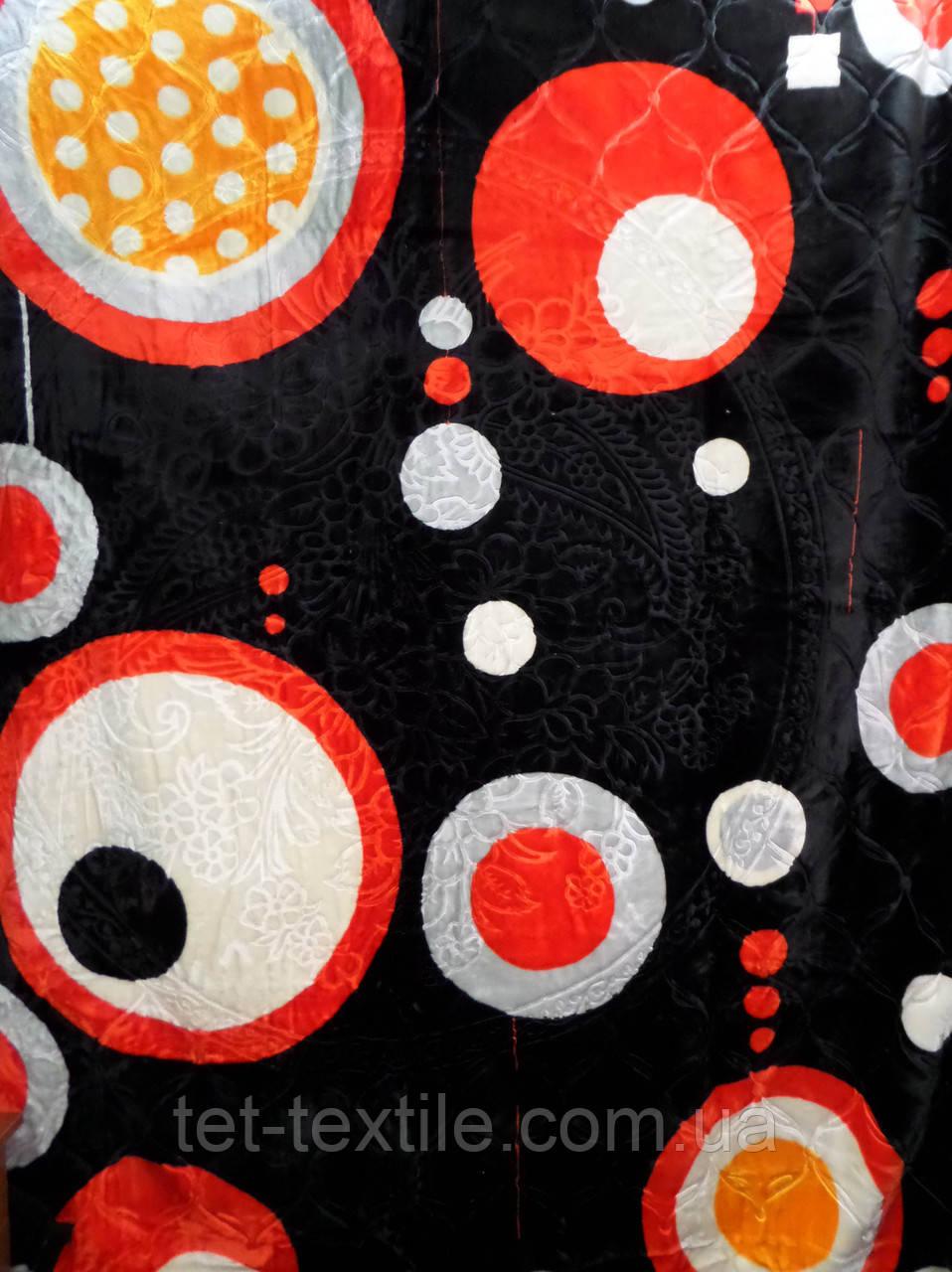 Плед акриловый Elway с тиснением Круги на черном (200x240)