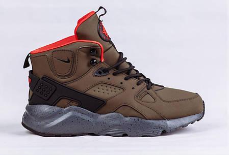 Мужские кроссовки Nike Air Huarache Winter Shoes коричневые топ реплика, фото 2
