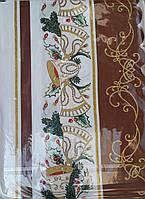 Скатерть праздничная с яркими рисунками (коричневая), р-р 120х150., 180/150 (цена за 1 шт. + 30 гр.)