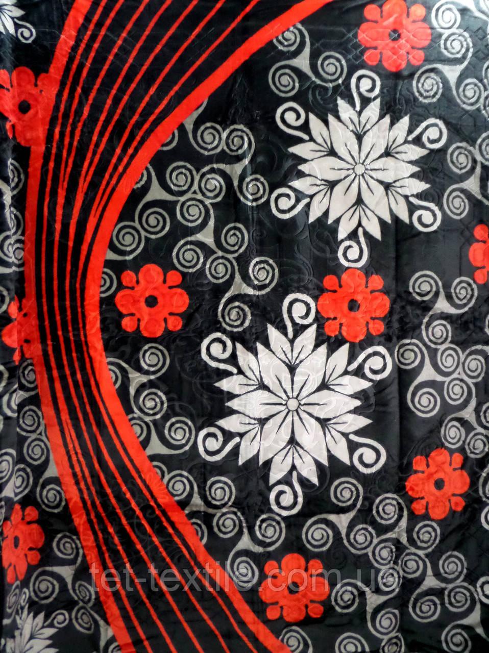 Плед акриловый Elway с тиснением Цветы на черном (200x240)