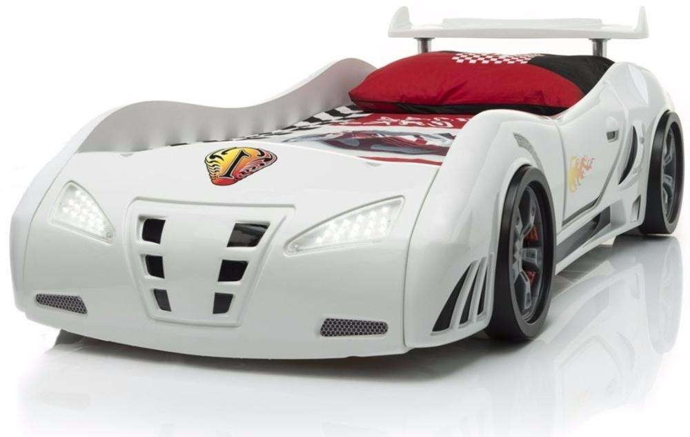 Детская кровать машинка гоночная машина белая F1
