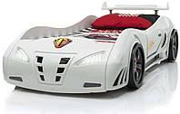 Детская кровать машинка гоночная машина белая F1, фото 1