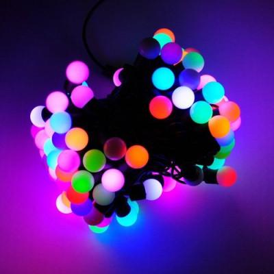 Новогодняя гирлянда Шарики 100 LED  6м  1,6 см