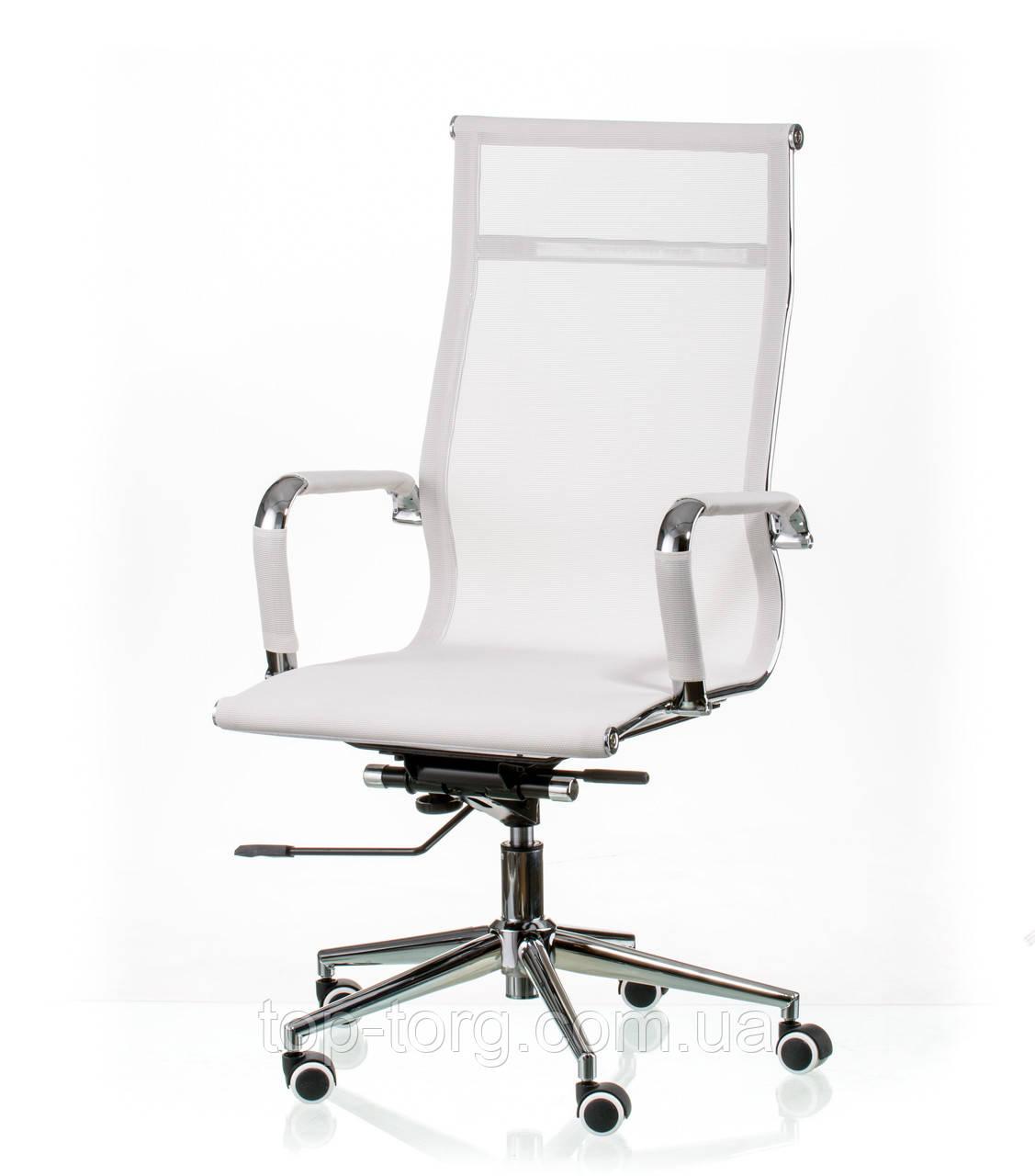 Крісло керівника, офісне Solano mesh white, сітка, колір білий