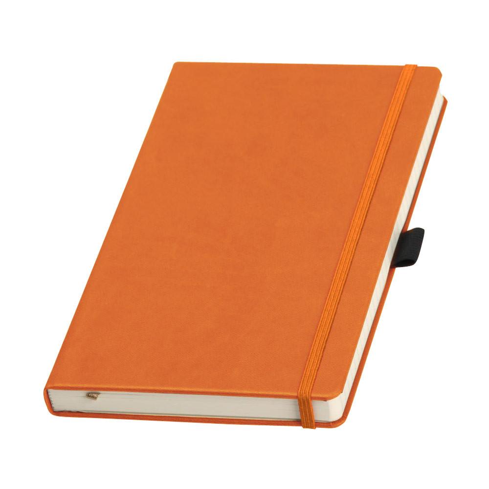 Записная книжка Туксон Ivory Line кремовый блок в линейку, кожзам, оранжевая
