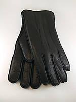 Перчатки мужские из натуральной кожи оленя мутон наружный шов.