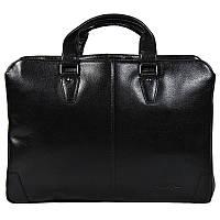 Солидный мужской портфель из натуральной кожи черный High Touch HT007833-11