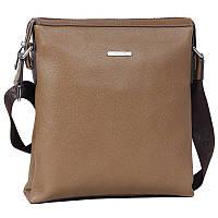 Оригинальная мужская кожаная сумка через плечо бежевая Wolf Family WF001009-31