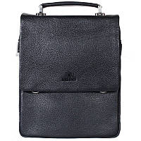 Вертикальная мужская кожаная сумка под формат А4 черная Lare Boss LB004704-81
