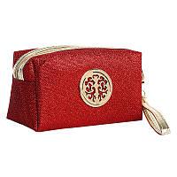 Косметичка женская текстильная (красная), фото 1