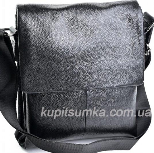 18c0f1b2a8fb Мужская сумка из натуральной кожи чёрного цвета на три отделения ...