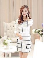 Платье белое в клетку мини длинный рукав