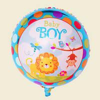 Фольгированные воздушные шары, форма:круг с Днем рождения мальчика, 18 дюймов/45 см, 1 штука
