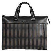 Мужская кожаная сумка-портфель черно-бежевая в полоску High Touch HT007191-11