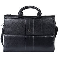 Качественный деловой мужской кожаный портфель с отделением для ноутбука черный High Touch HT007828-11