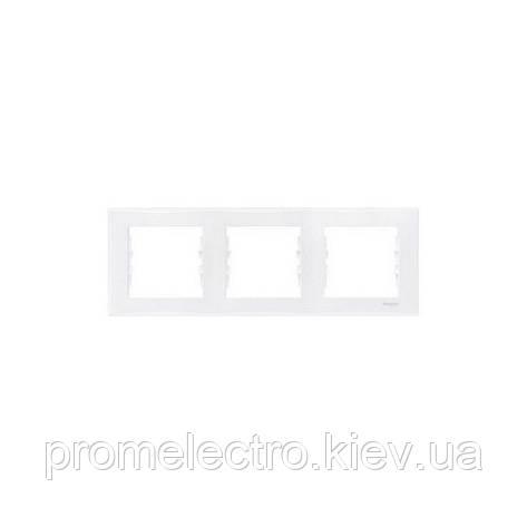 Рамка Schneider-Electric Sedna 3-поста горизонтальная белая SDN5800521, фото 2