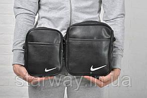Барсетка стильная | Мессенджер Nike белое лого вышивка
