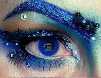 Цветные линзы Crazy Blue 3, синие линзы для карих глаз