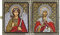 Набор для вышивания иконы в складне СА7206 Св. Мц. Татьяна (Татиана) Римская и Ангел Хранитель