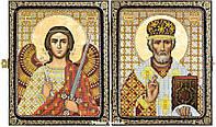 Набор для вышивания иконы в складне СА7301 Николай Чудотворец и Ангел Хранитель