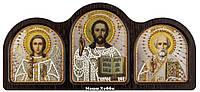 Набор для вышивания иконы СЕ6004 Триптих настольный серебро (Ангел Хранитель, Спаситель, Николай Чудотворец)
