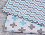 Ткань хлопковая с густым зигзагом серо-голубого цвета, № 1049, фото 2