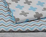 Ткань хлопковая с густым зигзагом серо-голубого цвета, № 1049, фото 4