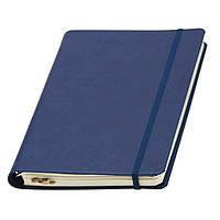 Записная книжка Ivory Line кремовый блок на пружине в линейку, кожзам, синяя