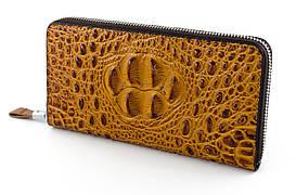 Фактурный кожаный мужской клатч копирующий кожу рептилии в коричневом цвете (11290)