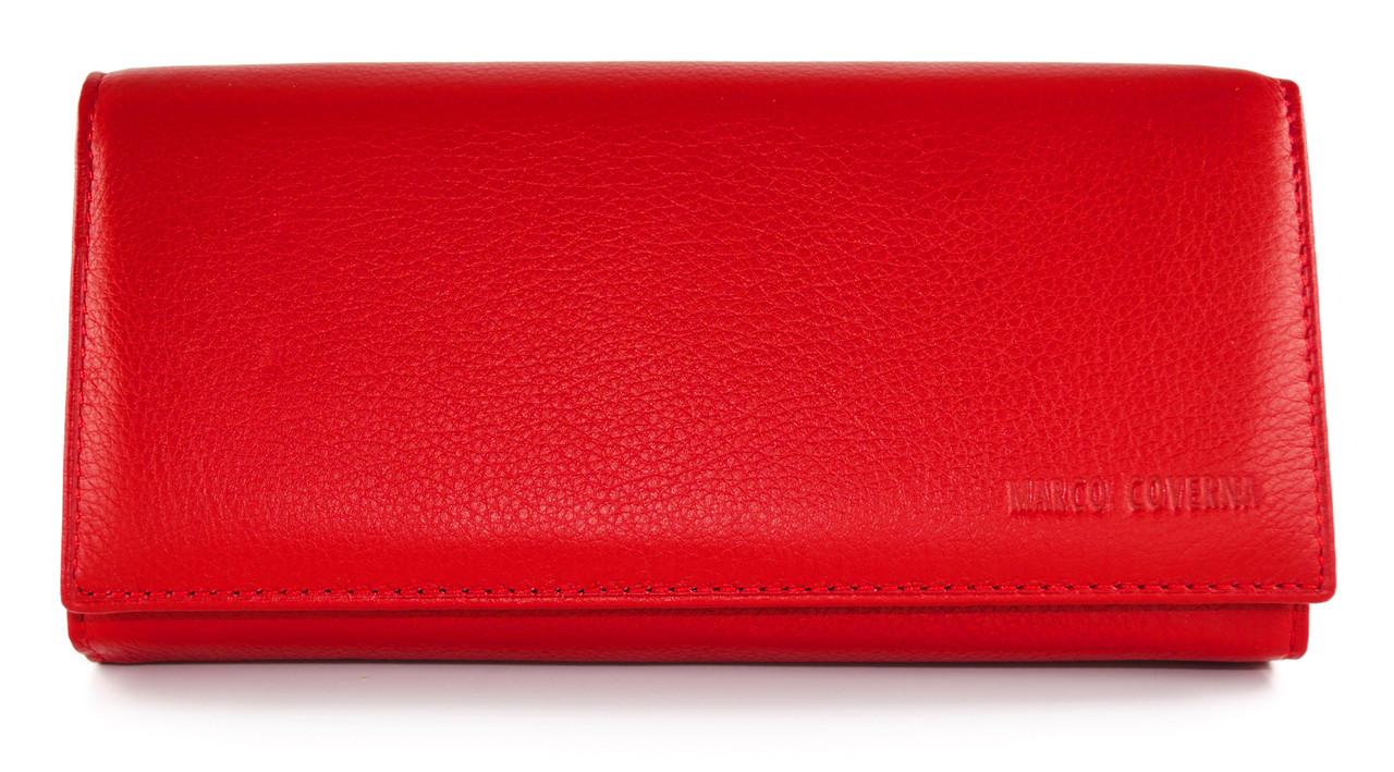 291089d5a594 Красивый женский кошелек на магнитах из натуральной кожи Marco Coverna в  красном цвете. (16184