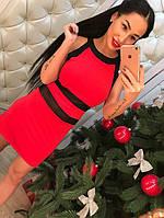 Красивое короткое платье с  сеткой красное