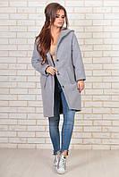 """Теплое кашемировое пальто на синтепоне """"Eveline"""" с карманами и капюшоном (3 цвета)"""