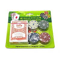 Покерный набор на 24 фишек с номиналом и пластиковые игральные карты