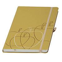 """Записная книжка  """"Appeel"""", кремовый блок в линейку, из кожуры итальянского яблока, золотая"""