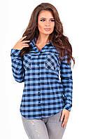 """Женская теплая рубашка в клетку """"Нора"""" с накладными карманами (3 цвета)"""