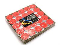 Свечи чайные (таблетки), красные парафиновые в алюминиевом корпусе, упаковка 50 шт