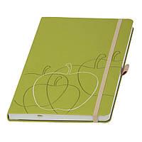 """Записная книжка  """"Appeel"""", кремовый блок в линейку, из кожуры итальянского яблока, зеленое яблоко"""