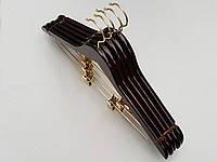 Плечики вешалки тремпеля деревянные Fashion цвета вишни костюмные, длина 45 см, в упаковке 5 штук